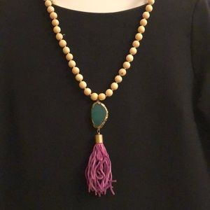 Jewelry - Wood bead necklace with geode and purple tassel